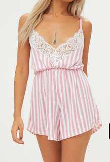 Lacey pink playsuit