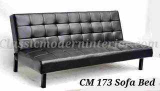 Sofa bed leather Black Cm173