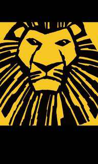 2 x Lion King tickets for 1st July, 1pm