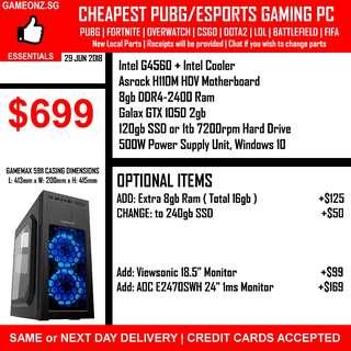 +COMBO+ Intel G4560 Gaming PC Builds PUBG Esports HDD SSD Nvidia Geforce GTX 1050 TI 1060 GTX1050 GTX1060 Overwatch Dota2 Csgo Lol Battlefield Fifa Fortnite