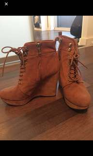 Michael Kors leather and suede booties size 8