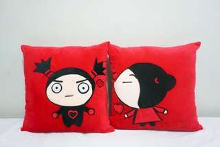 🚚 Pucca & Garu velvet cotton couple cushion covers / wedding pillow case, cute, soft, stuffed character cushion, puffy, comfy bedding Valentine gift