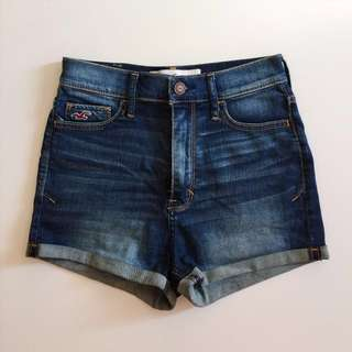 Hollister high waisted dark wash denim shorts