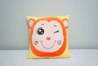 🚚 Orange little happy monkey velvet cotton cushion cover / pillow case, cute, soft, stuffed character cushion, puffy, comfy bedding gift, baby shower