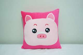 🚚 Pink little happy piggy pig velvet cotton cushion cover / pillow case, cute, soft, stuffed character cushion, puffy, comfy bedding gift, baby shower
