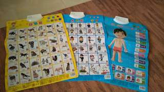 Baby learning materials, 3 pcs, english & chinese, with battery