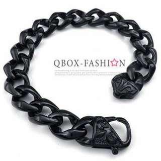 🚚 FASHION 黑色 克羅心圓環扣鑄造316L鈦鋼手鍊   型男  Rock