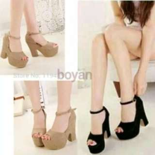 High heel korea hitam dan tan