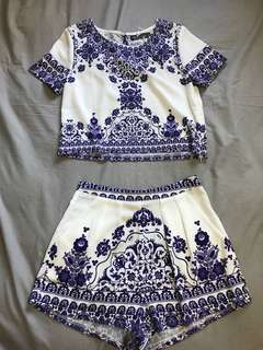 Womens top and short set size 8