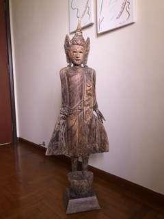 Standing wooden Buddha Statue