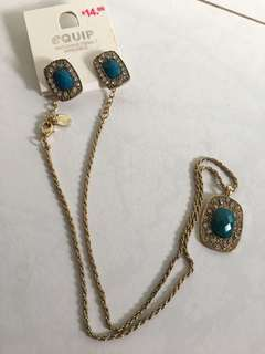🚚 BN Turquoise Gold Jewelry Set