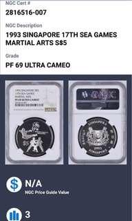 1993 Singapore 17th sea games martial arts $5 silver coin