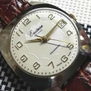 60年代Eastman De Luxe古董錶,超靚原裝面,無番寫,前後跳日曆,原裝瑞士上鏈機芯,行走精神,塑膠上蓋,直徑35mm不連霸的,全新皮帶,淨錶$850,有意請pm
