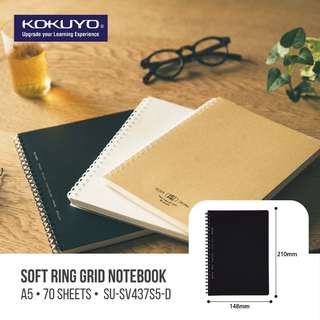 KOKUYO SOFT RING GRID NOTEBOOK - A5/B5 (80 SHEETS)