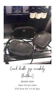Coach double zip leather bag