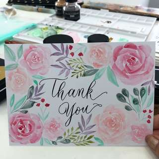 Thank you cards (watercolor and calligraphy)