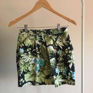 Floral tropical print skirt