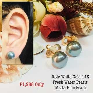 Italy Gold Tahitian Black Pearl Earrings