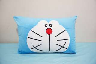 🚚 Doraemon velvet cotton cushion cover / pillow case, cute, soft, stuffed character cushion, puffy, comfy bedding gift, baby shower