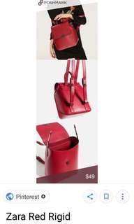 Zara backpack red leather