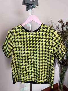 Yellow Houndstooth Top