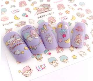 BNIP Sanrio Little Twin Stars Nail stickers nail art nail decals