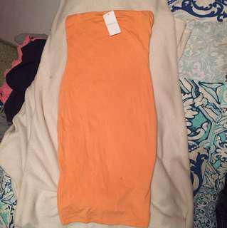 Kookai strapless orange dress