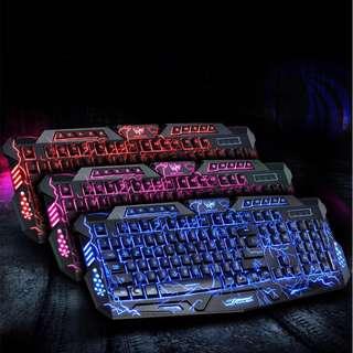 LED 3 Colors Backlit M-200 Multimedia Ergonomic Usb Gaming Keyboard M200 Red / Purple / Blue Backlight LED Pro Gaming Keyboard USB Wired Powered Full N-Key for LOL Computer gamer