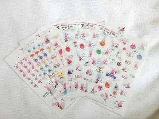 Pink Korean Stickers Rabbit