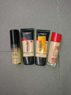 Loreal foundation, Milani foundation, Rimmel foundation