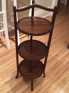 Antique solid mahogany 3 tier stand(Circa 1930) VERY Interesting .....and versatile as well