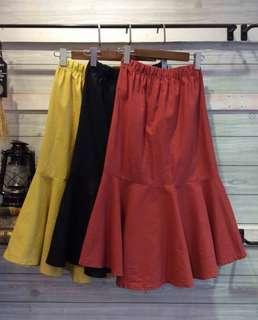 🚚 顯瘦棉麻魚尾裙