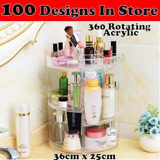 Makeup Make up Organizer Rotating Clear Acrylic Transparent Cosmetic Jewellery Jewelry Organiser Organizer Drawer Storage Box Holder