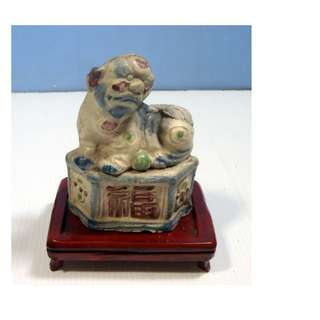 Antique rare porcelain foo dog candle holder wood stand circa late 20th Century