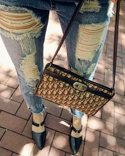 Vintage Dior 中古啡色經典側咩手袋