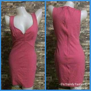 MYSTIC  black halo Pink V-Neck Sheath Dress