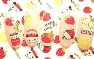 BNIP Sanrio Pandapple Rilakkuma strawberry apple pineapple lemon nail stickers nail art nail decals