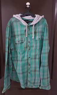 Cotton On Green Plaid Hooded Longsleeves Polo