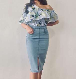 Knee Length Denim Skirt with Slit