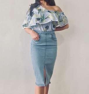 Knee Length Denim Skirt with Slit