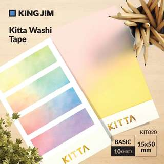 King Jim KIT020 Kitta Washi Tape - BASIC (15X50MM) 10 SHEETS X 4DESIGN