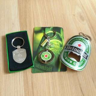 HEINEKEN Beer Merchandise (3 in 1) Key Chains + Can Opener