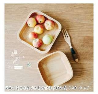 Zakka 实木方盘/水果沙拉盘/甜品盘(set of 2) <Zakka Square Rubber Wood Bowl, Salad Fruit Bowl,Dessert Bowl>