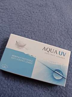 One Aqua UV box containing 3 pairs -200 clear contact lenses