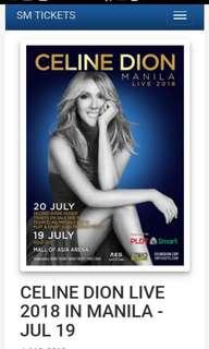 Celine Dion upperbox ticket July 19th