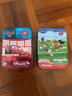 Cars and Disney Puzzle in metal tin