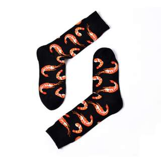 全棉中筒襪 - 黑色 (蝦) Socks / Stockings - Black (Shrimp)
