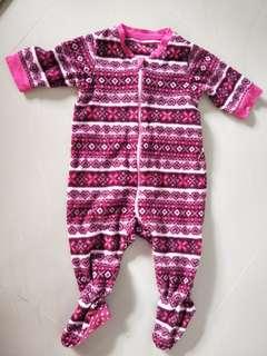 Uniqlo pink fleece sleepsuit
