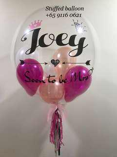 Pink champagne Bride to be balloon, bubble balloon, 24 inch bubble balloon, transparent clear, customized balloon, personalized balloon