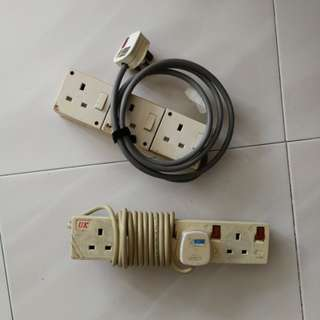 Power extension cord, 3 or 4 plugs